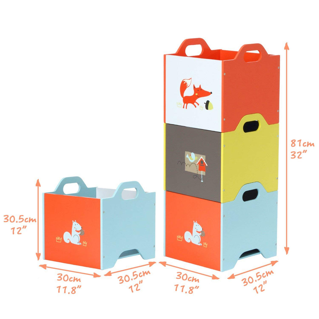 Wooden Toy Storage Bin, 3-color Combined Stackable Fox Toy Bin, Closed Door Baby Toy Chest with 3-layer for Baby - Labebe