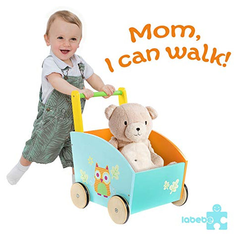 Baby Walker with Wheel, Fox Printed Wooden Push Toy, 2-in-1 Activity Walker for Baby 1-3 Years