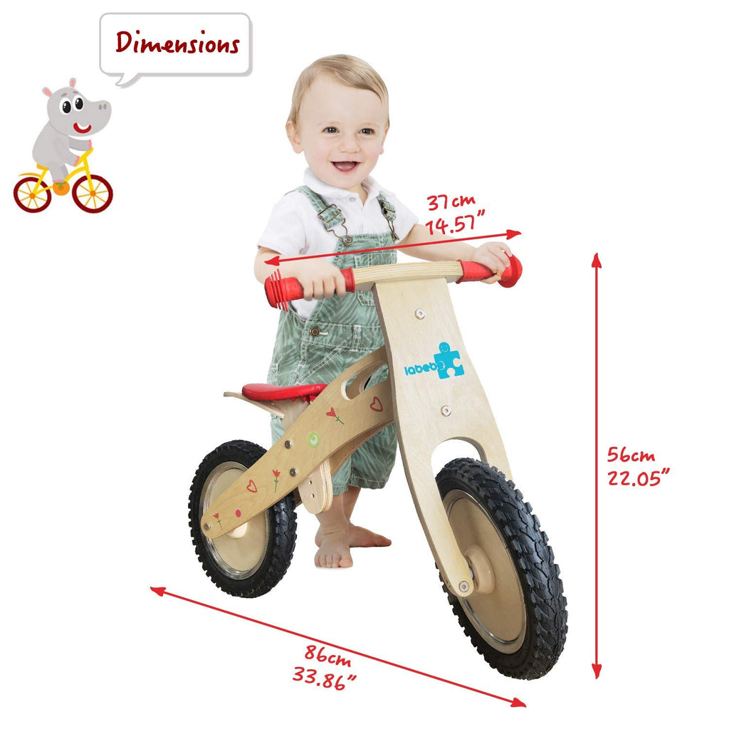 Kid's Balance Bike, Indian Wood Balance Bike with Adjustable Seat, Smart Balance Bike for kids aged 18 months-3 year - Labebe