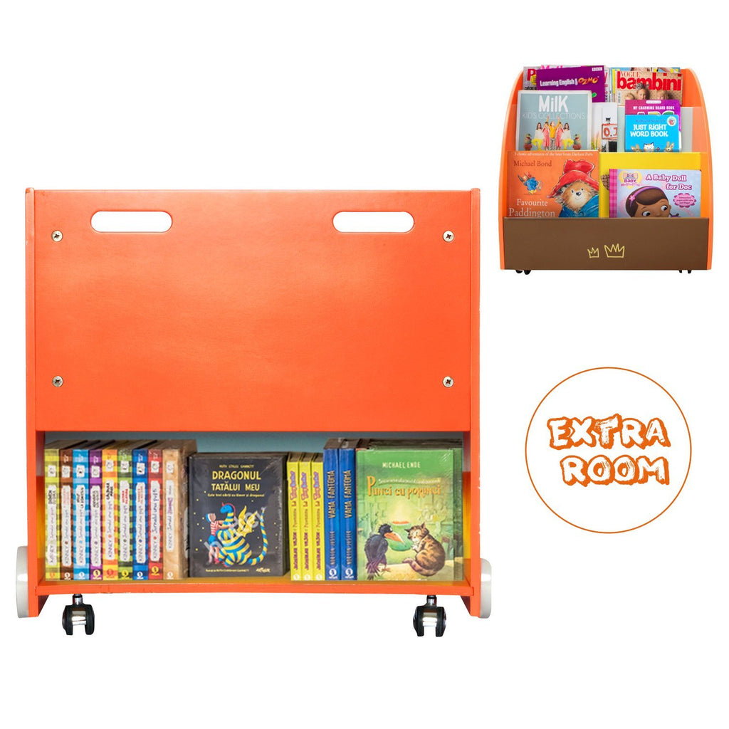 Kid Bookshelf With Wheels Orange Pine Wood For 1 Year Up