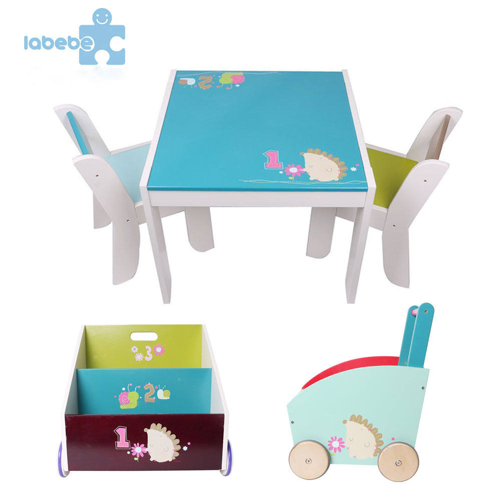 Wooden Activity Table Chair Set, Blue Hedgehog Toddler Table for 1-5 ...