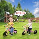 Kid's Balance Bike, 2-in-1 Pink Balance Bike with Adjustable Seat, Smart Balance Bike for kids aged 18 months-3 year - Labebe