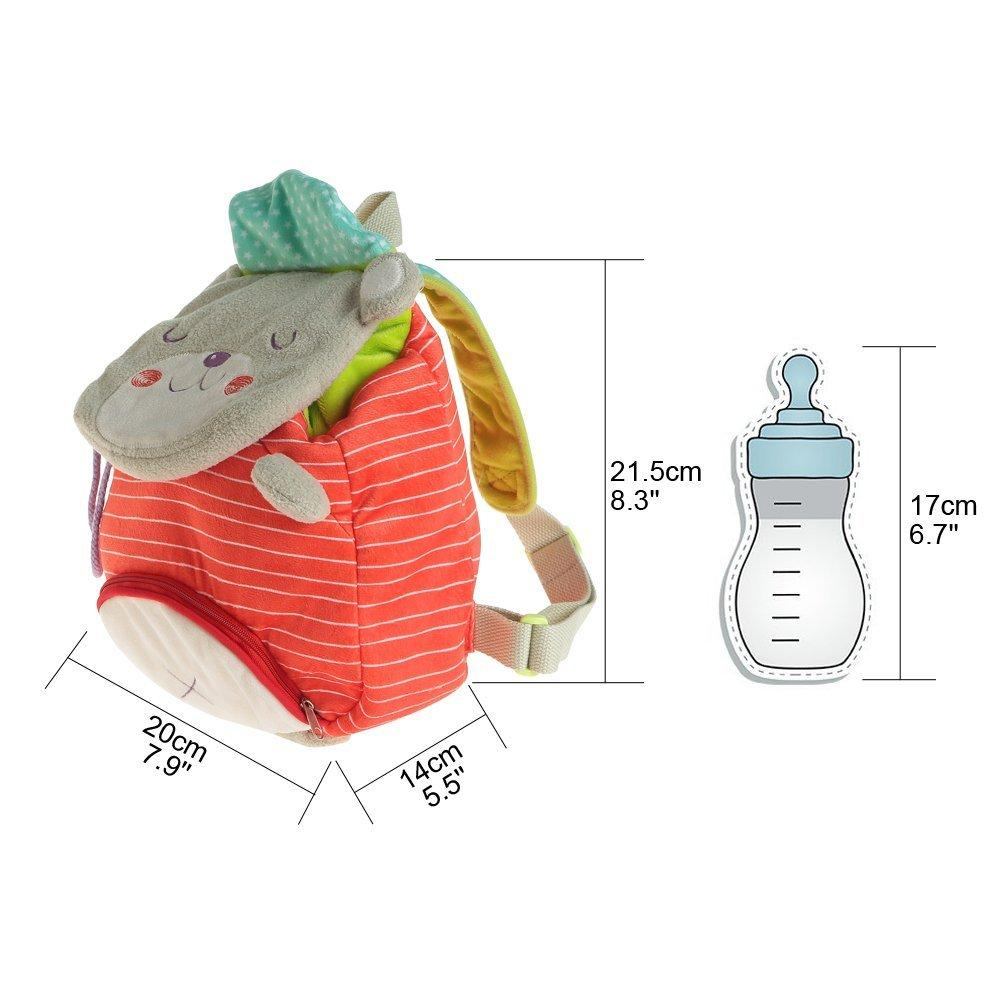 Toddler Backpack with Harness, Red Bear Mini Diaper Bag for Kid 1-3 Years - Labebe