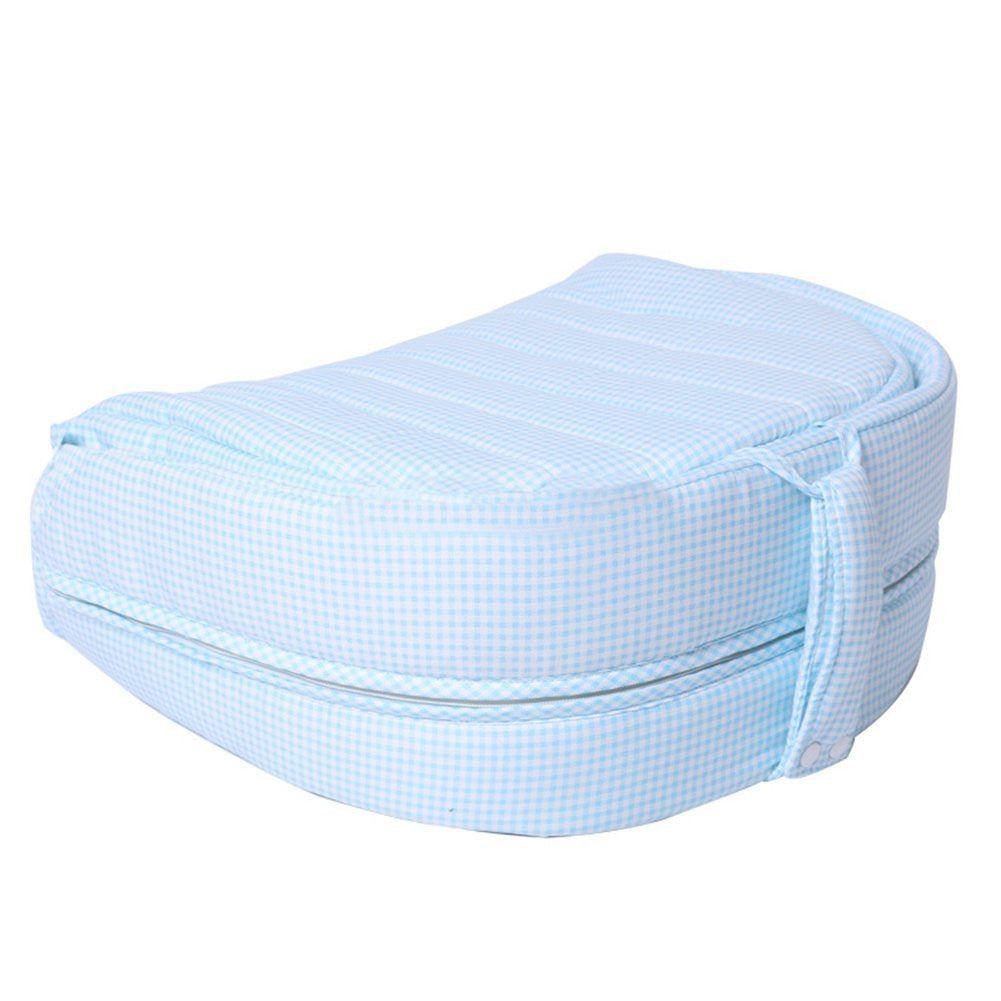 Baby 2 in 1 FOLD & GO Foldable Travel Bed for Infants up to 1 Year - Sky Blue Grid - Labebe