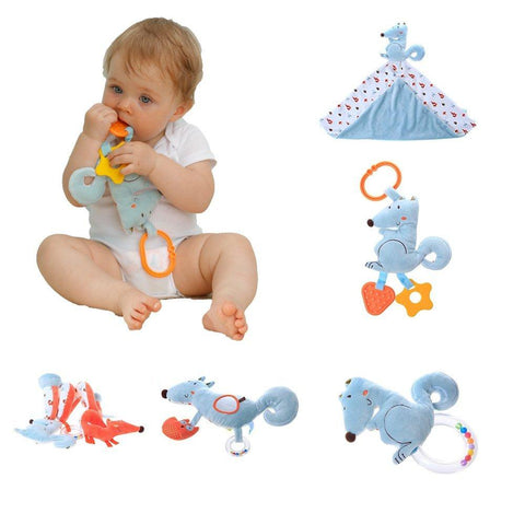 Soft Hanging Spiral Activity Toy with Mirror for Cot and Stroller - Orange Fox