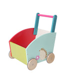 Baby Walker with Wheel, Green Hedgehog Printed Wooden Push Toy, 2-in-1 Wooden Activity Walker for Baby 1-3 Years - Labebe