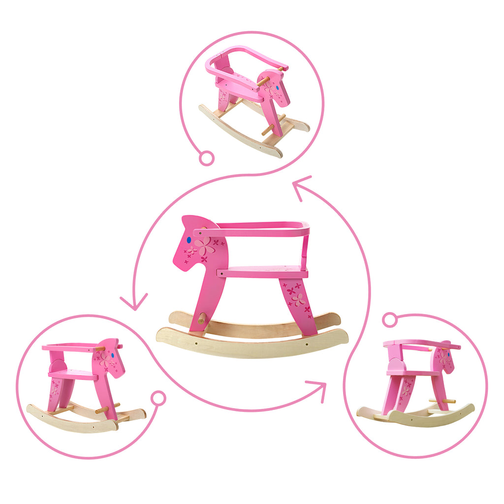 Child Rocking Horse, Wooden Rocking Horse Toy, Pink Rocking Horse for kid 1-3 Years - Labebe