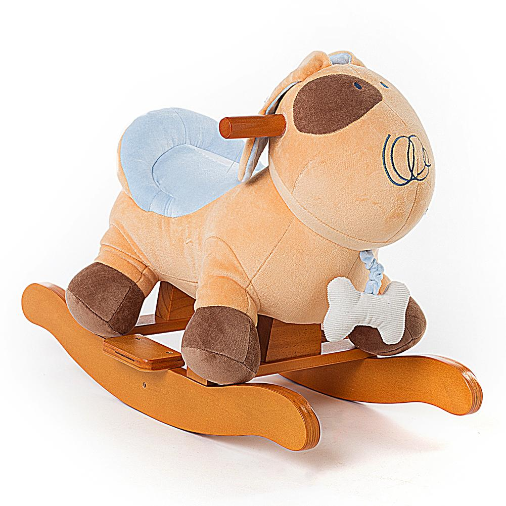 Child Rocking Horse Plush, Stuffed Animal Rocker Toy, Yellow Puppy for Kid 1-3 Years - Labebe