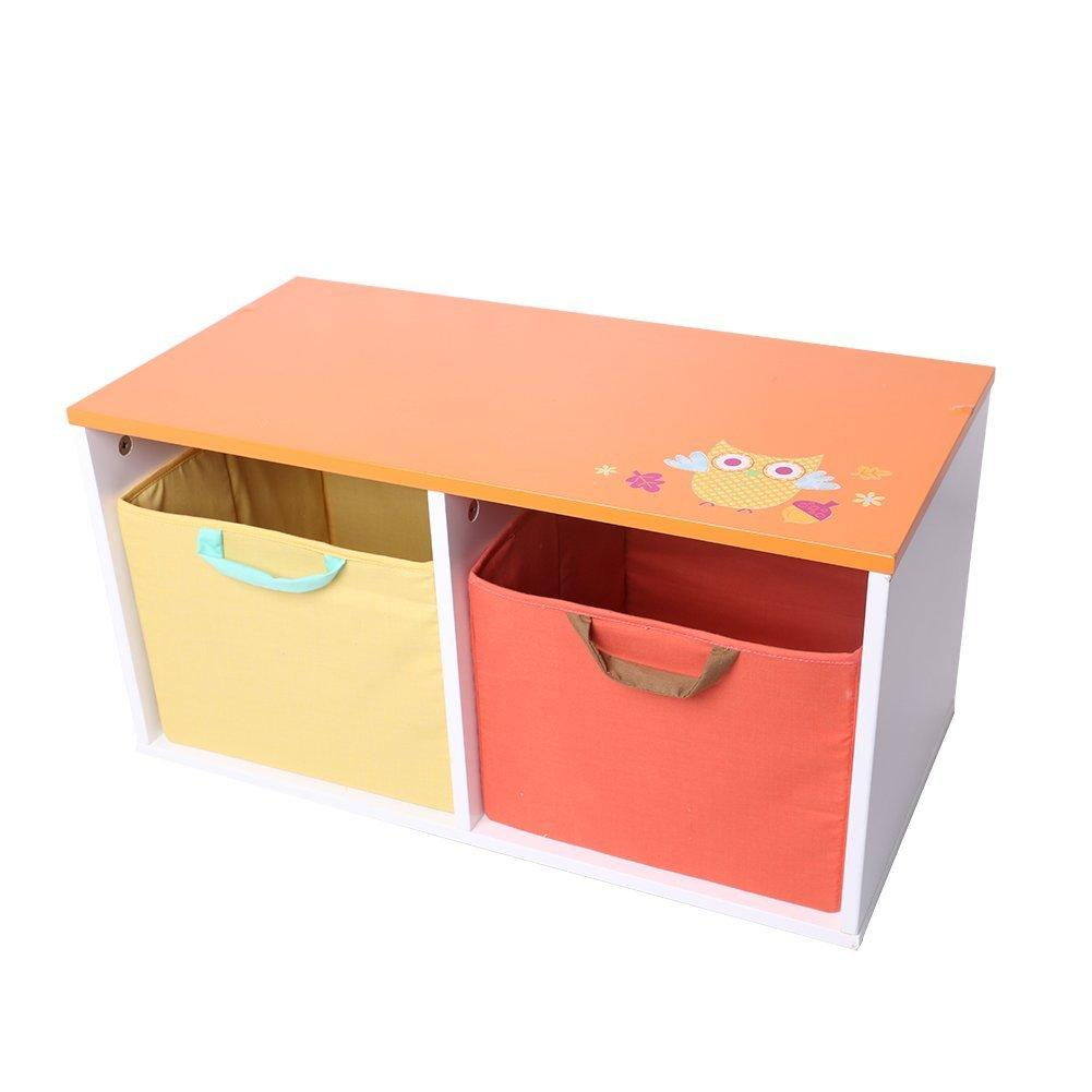 Baby Well Holding Wooden Toy Box Bins Organizer for Baby Girls & Boys Toddler with 2 Bins- Orange & Yellow - Labebe