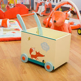 Baby Walker with Wheel, Fox Printed Wooden Push Toy, 2-in-1 Activity Walker for Baby 1-3 Years - Labebe
