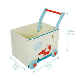 Baby Walker with Wheel, White Fox Printed Wooden Push Toy, 2-in-1 Wooden Activity Walker for Baby 1-3 Years - Labebe