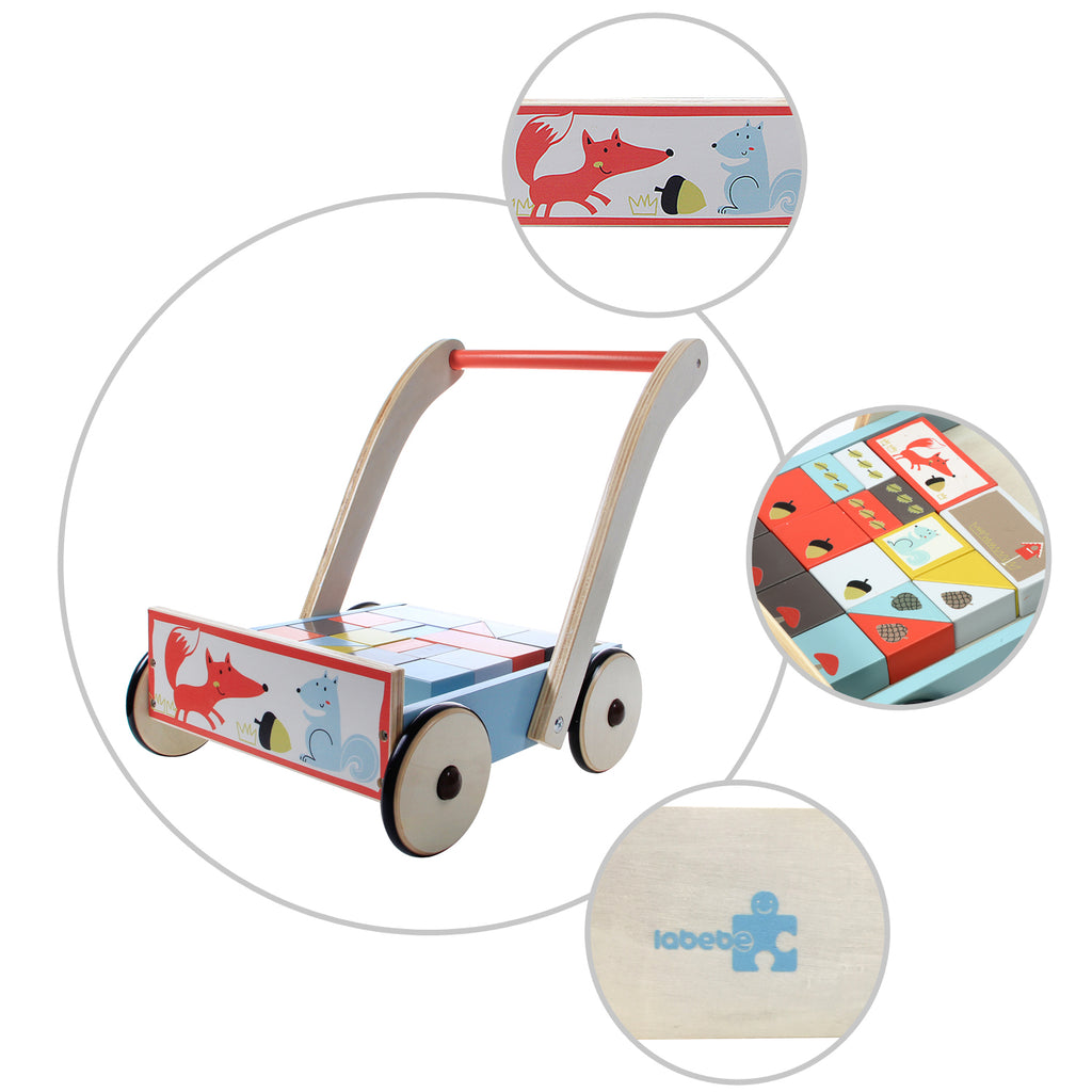 Baby Walker with Wheel, Blue Fox Printed Wooden Push Toy, 3-in-1 Activity Walker for Baby 1-3 Years - Labebe