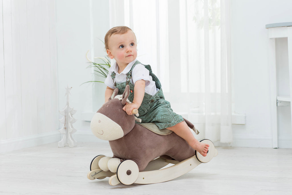 Modern Plush Rocking Horse for Little Toddlers Kids Baby Boys & Girls (Up 6 Months Old) - Labebe