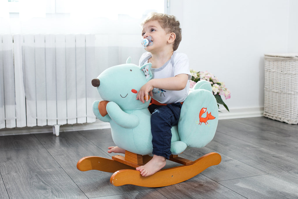 Child Rocking Horse Toy, Stuffed Animal Rocker Toy, Blue Squirrel Plush Rocker Toy for Kid 1-3 Years - Labebe