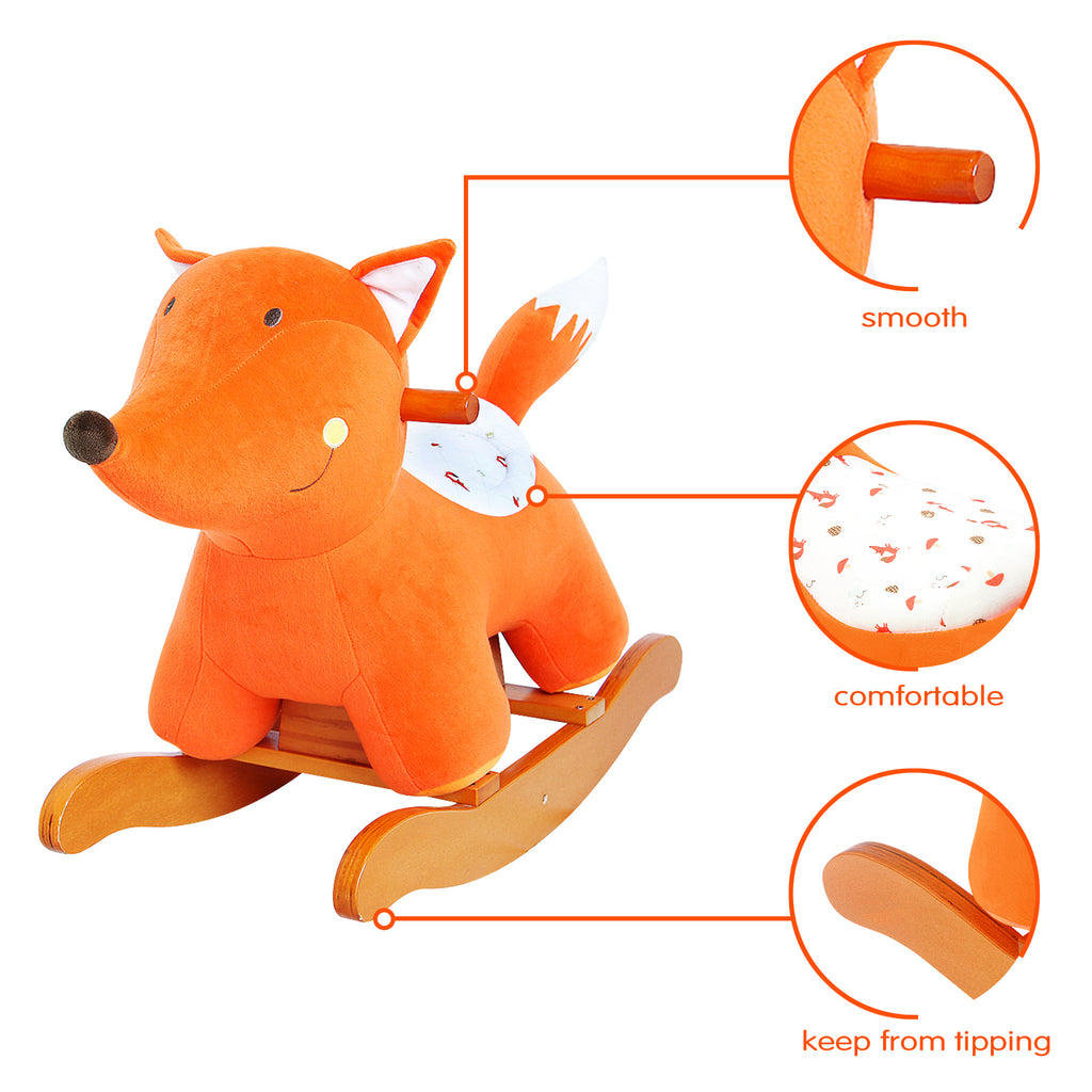 Child Rocking Horse Toy, Stuffed Animal Rocker Toy, Orange Fox Rocking Horse Plush for Kid 1-3 Years - Labebe