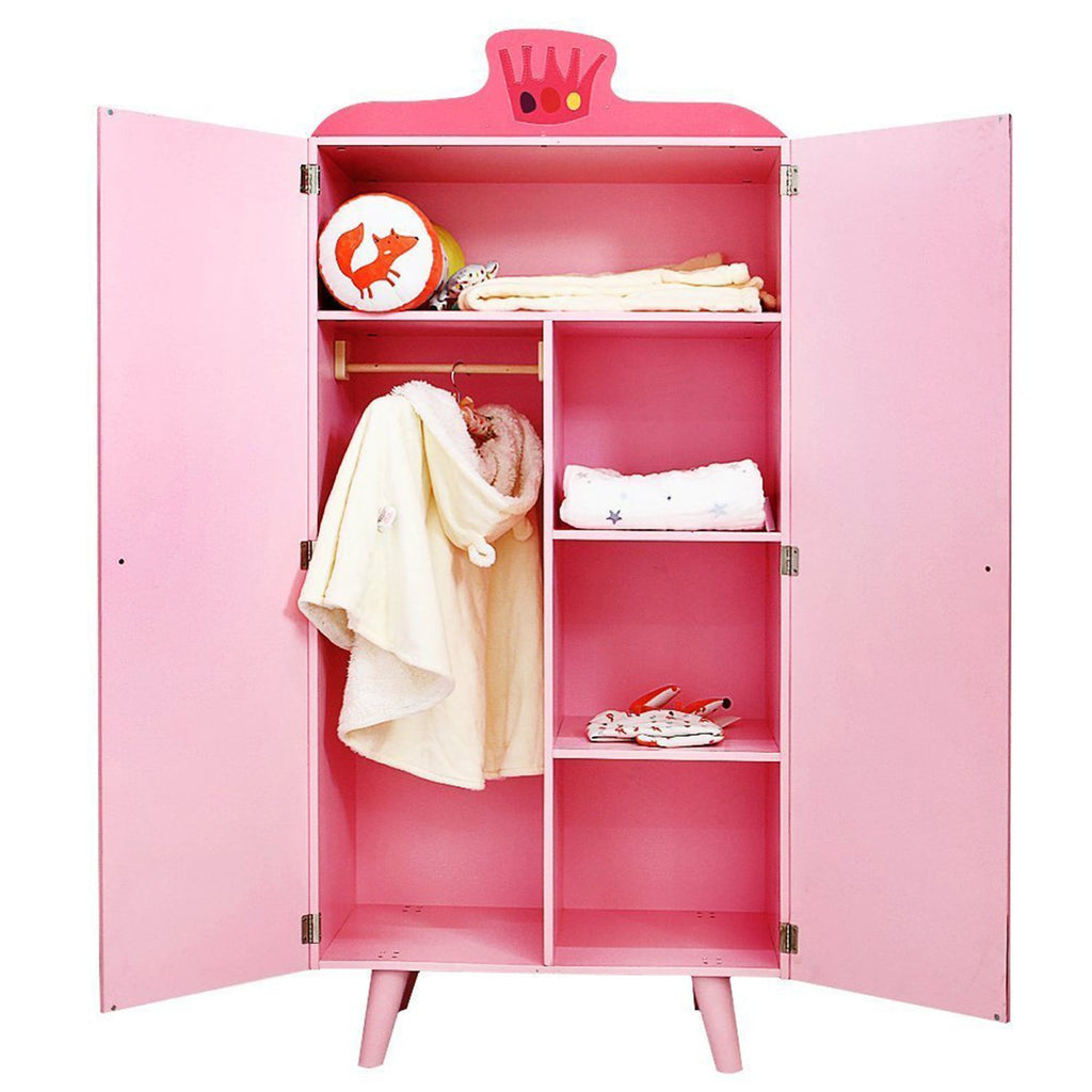 Children Room Furniture Lovely Wooden Armoire Closet for Girls Toddler, with 5 Separated Shelves - Labebe