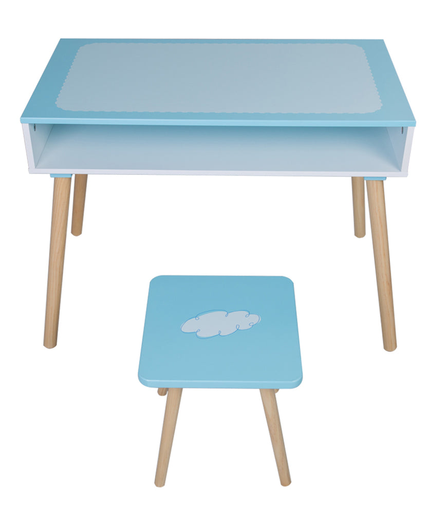 Children and Kids Wood Table and One Chair Living Room Furniture (Sea blue)