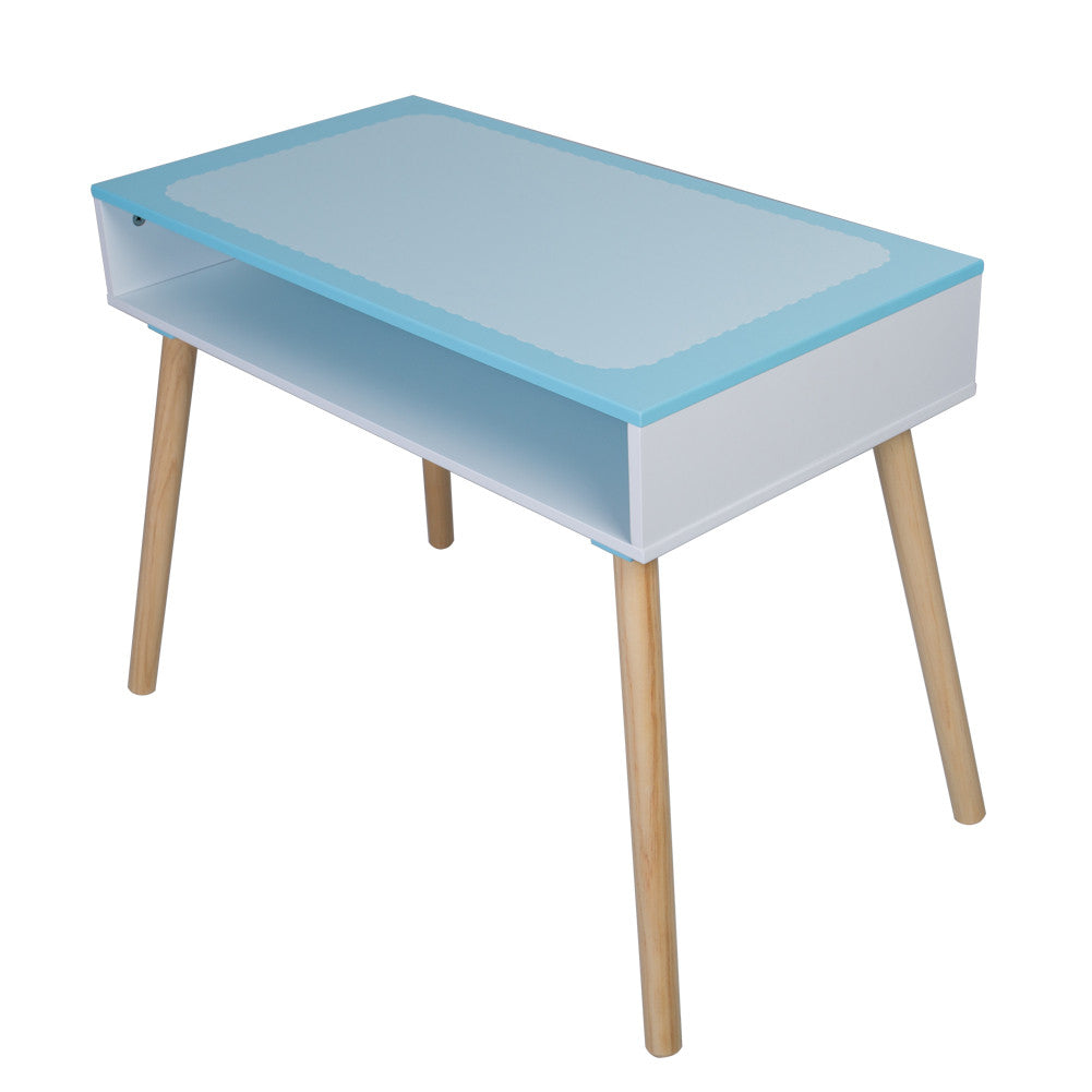 Children and Kids Wood Table and One Chair Living Room Furniture (Sea blue) - Labebe