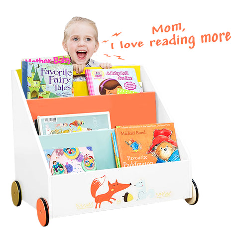 Kid Bookshelf with Wheels, Green Hedgehog Wood Bookshelf for Kid 1 Year Up