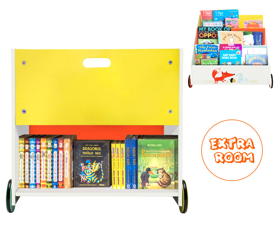 Kid Bookshelf with Wheels, Orange Fox Wood Bookshelf for Kids, Child bookshelf, 1 Year Up - Labebe
