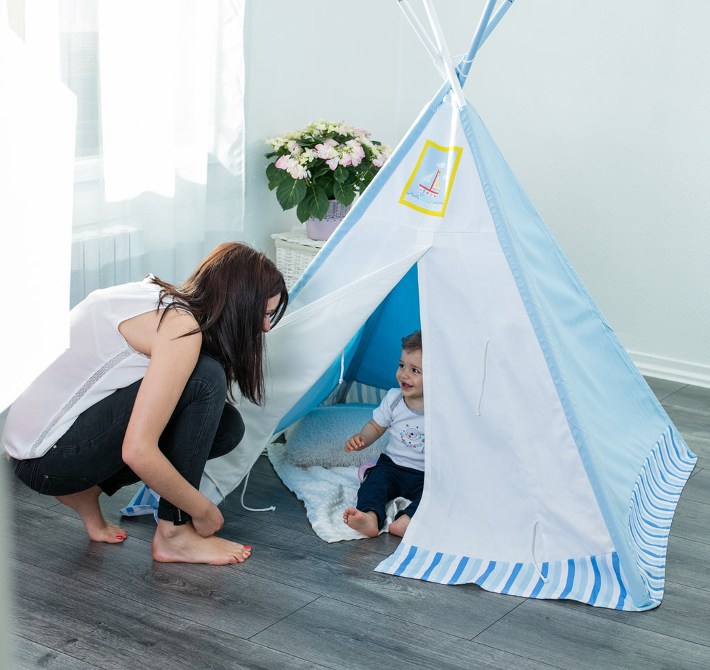 Play Teepee Kid, Ocean Blue Teepee Boy 2-5 Years, Baby Tent Indoor & Outdoor - Labebe