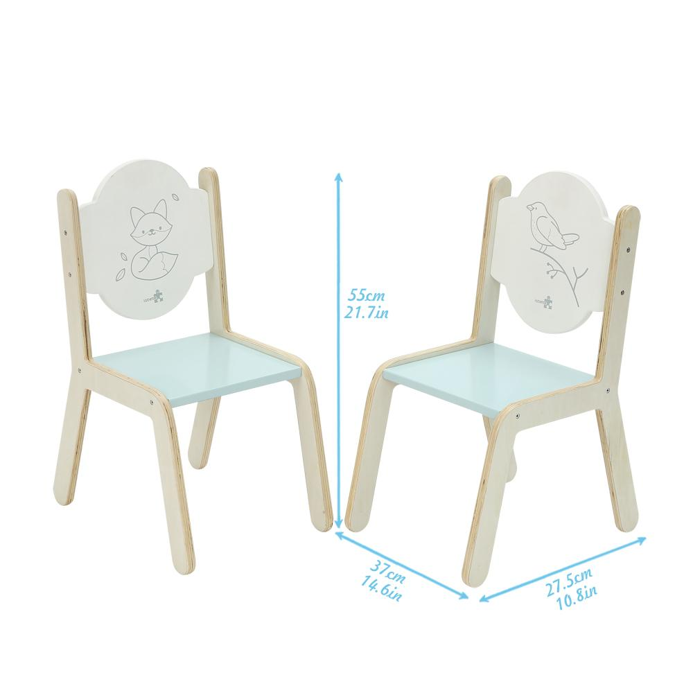 Wooden Activity Table Chair Set, Bird Printed White Toddler Table with Bin for 1-5 Years - Labebe