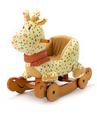 Child Rocking Horse Plush, Stuffed Animal Rocker Toy, 2 in 1 Yellow Giraffe Rocker with wheel for Kid 6-36 Months - Labebe