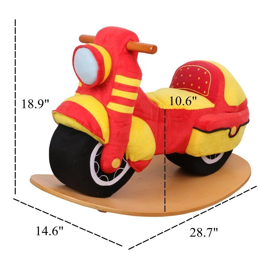 Child Rocking Horse Toy, Red Rocking Horse Plush, Motorcycle Rocker for Kid 1-3 Years - Labebe