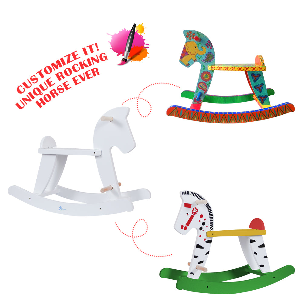 Labebe Amazon Best Selling Child Rocking Horse, Wooden Rocking Horse Toy, White Rocking Horse for kid 1-3 Years - Labebe