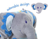 Child Rocking Horse Plush, Stuffed Animal Rocker Toy, 2 in 1 Blue Elephant Rocker with Wheels for Kid 6-36 Months - Labebe
