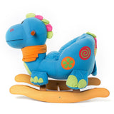 Child Rocking Horse Toy, Stuffed Animal Rocker Toy, Blue Dinosaur Rocker for Kid 1-3 Years - Labebe