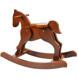 Child Rocking Horse, Wooden Rocking Horse Toy, Brown Rocking Horse for kid 1-3 Years - Labebe