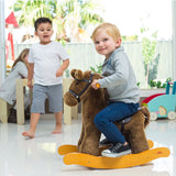 Child Rocking Horse Toy, Stuffed Animal Rocker Toy, Brown Knight Horse Rocking Plush for Kid 1-3 Years - Labebe