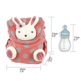 Toddler Backpack with Harness, Red Backpack with Bunny for Kid of 1-3 Years - Labebe