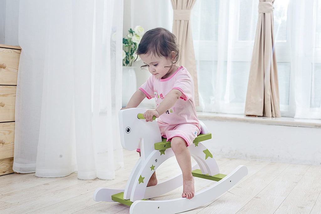 Child Rocking Horse, Wooden Rocking Horse Toy, Stars Printed Green Rocking Horse for kid 1-3 Years - Labebe