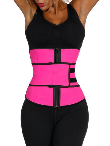 Fetchshe Latex Zipper Hook Waist Shaper