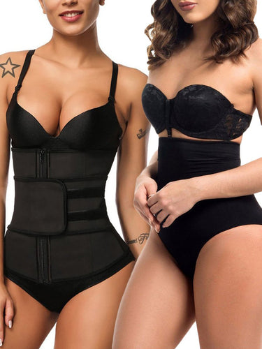 Joymode Special Offer | Zip Up Latex Waist Trainer With Shaping Shorts - Joymode