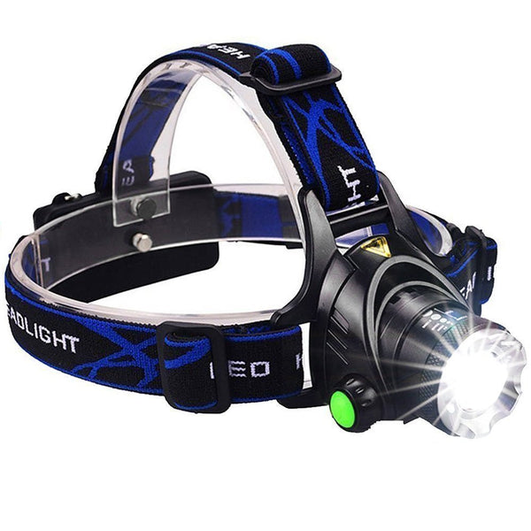 3000 Lumens Headlamp, Zoomable with Rechargeable Batteries, Wall and Car charger included.