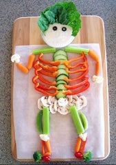 Vegetable skeleton Halloween food