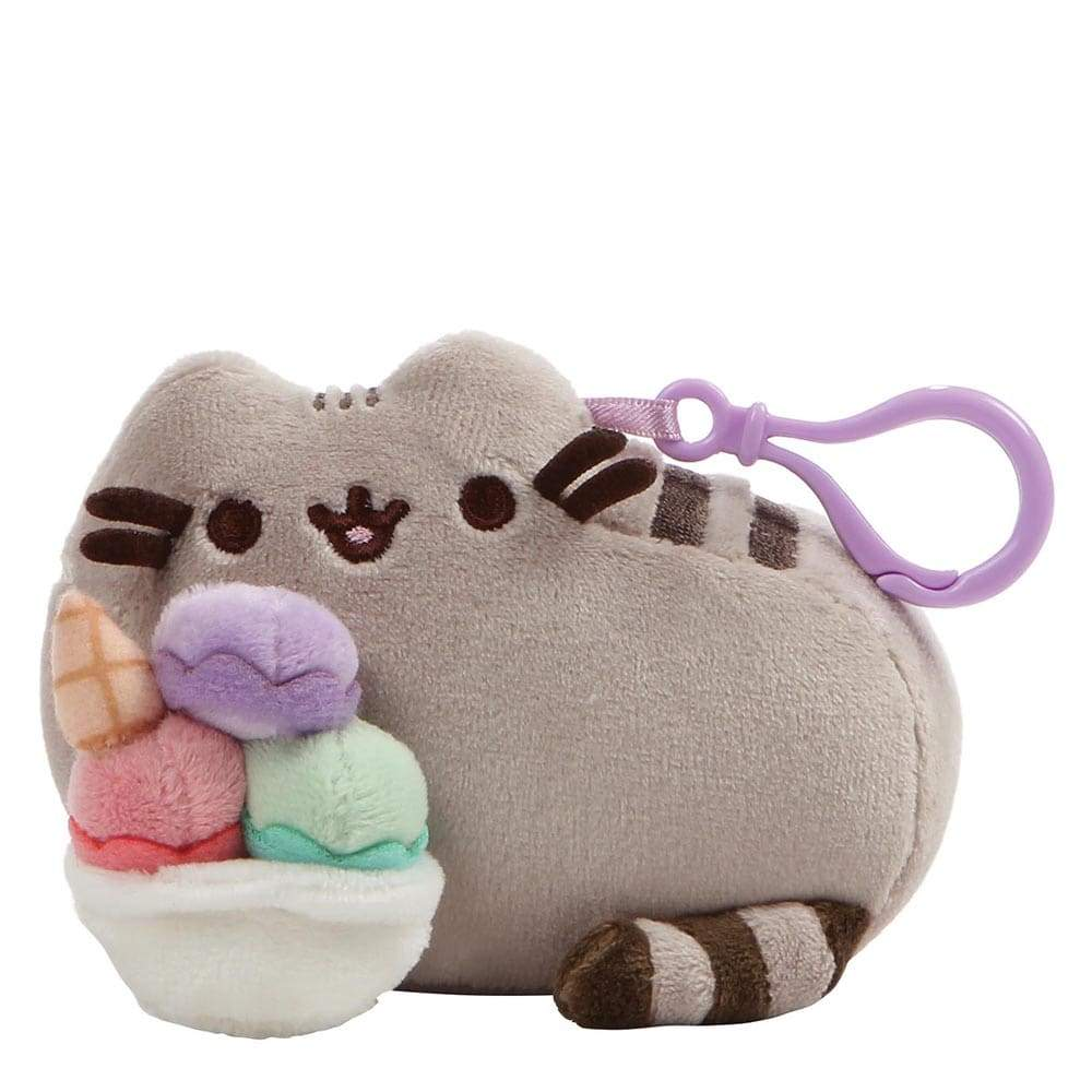 Pusheen Pastel Ice Cream Sundae Backpack Cute Soft Toy Clip