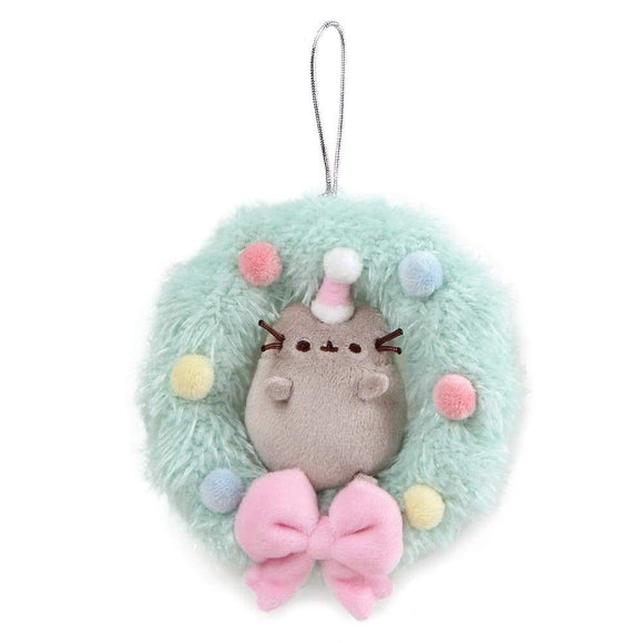 Pusheen Wreath Christmas Hanging Ornament Soft Toy With Bow