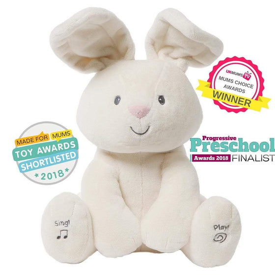 GUND Baby Flora the Adorable Animated Bunny White Soft Toy