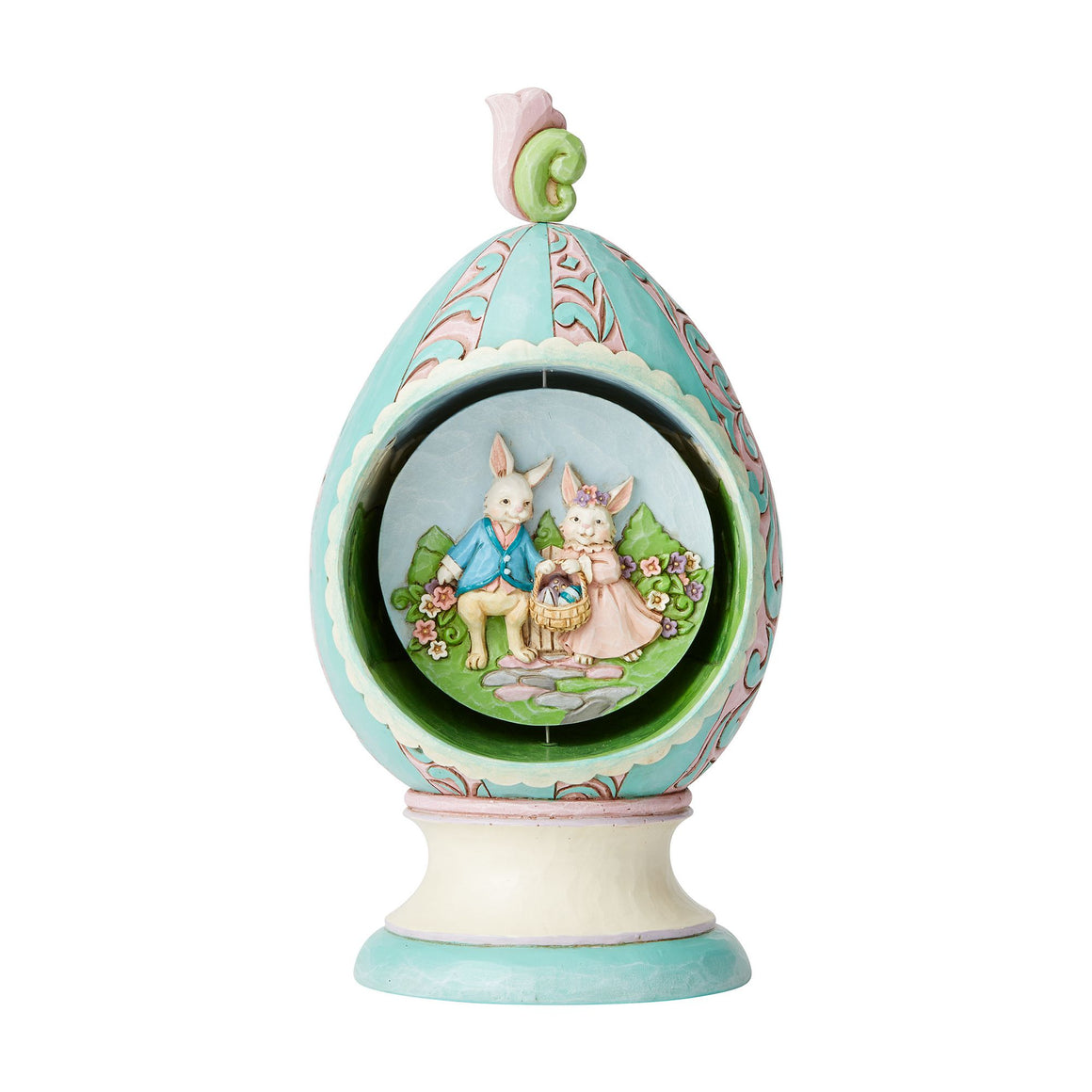 Revolving Egg with Bunnies and Chicks Scene Figurine - Heartwood Creek by Jim Shore