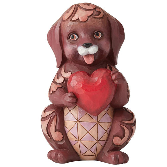 Heartwood Creek by Jim Shore Dog Holding Heart Pint-Sized
