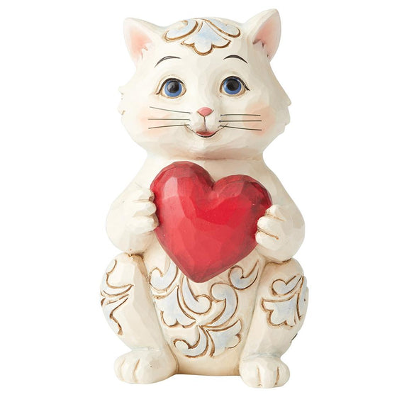 Heartwood Creek by Jim Shore Purr-fectly Loved (Cat Holding Heart Pint-Sized Figurine)