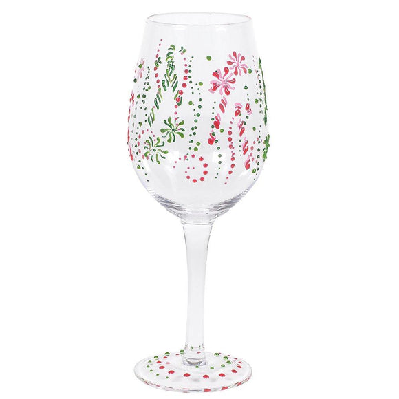 Candy Cane Wine Glass