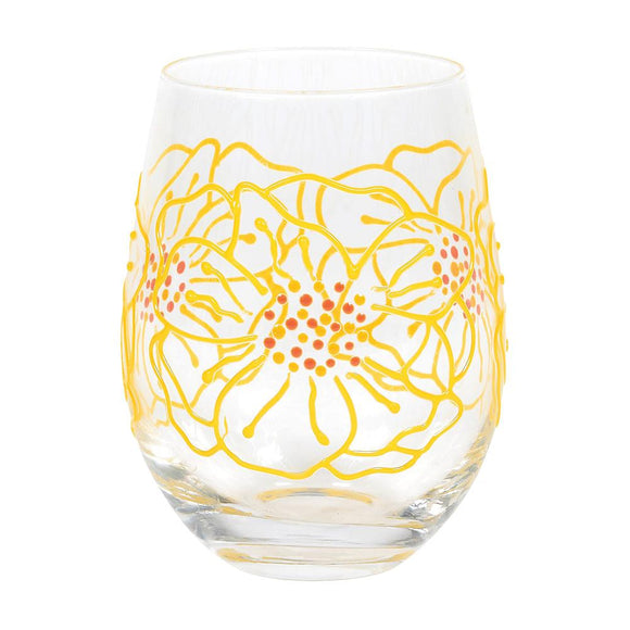 Large Flower Floral Glass