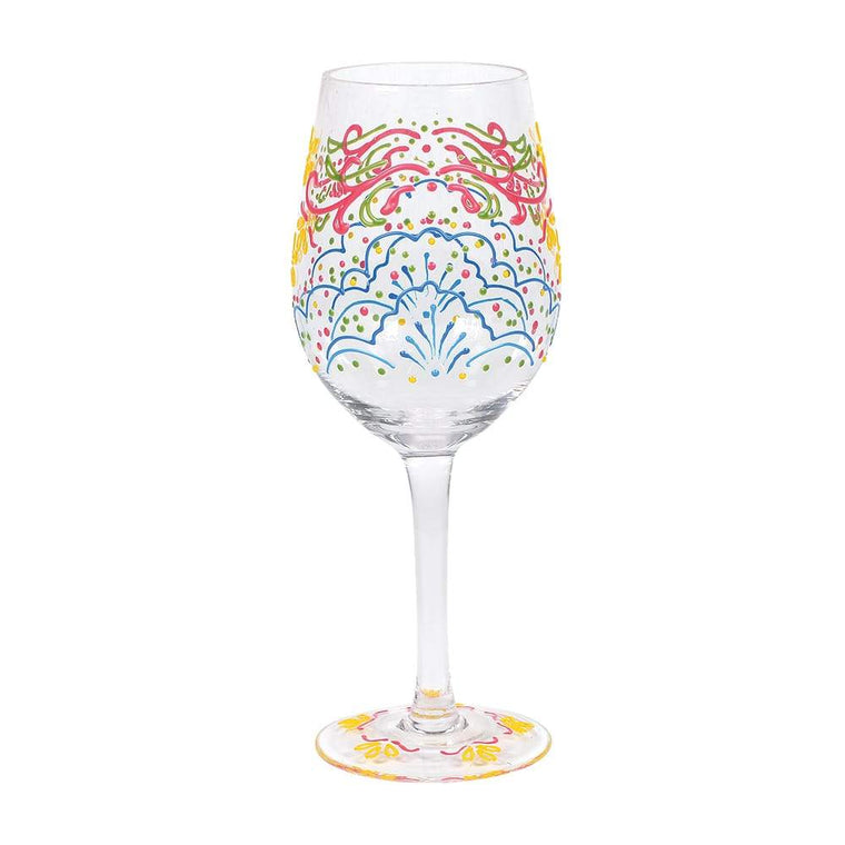 Rose Henna Wine Glass