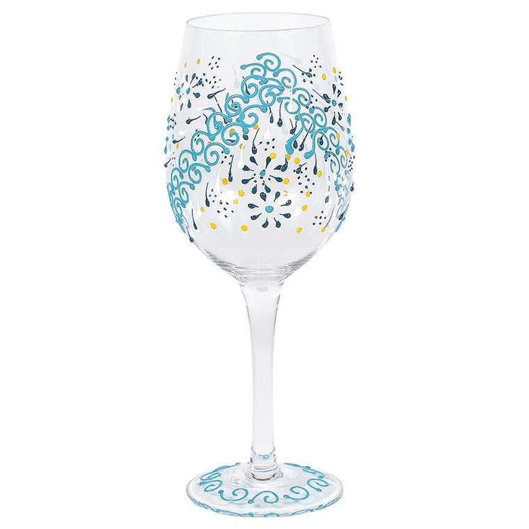 Indigo Henna Wine Glass