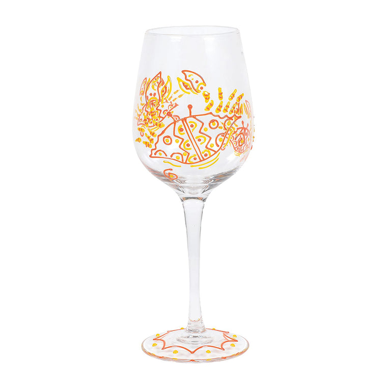 Red Crab Wine Glass